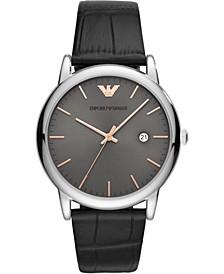 Men's Black Leather Strap Watch 43mm