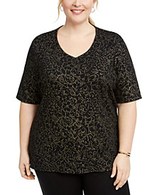 Plus Size Rose V-Neck Top, Created for Macy's