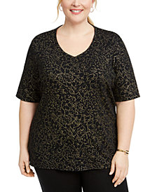 Karen Scott Plus Size Rose V-Neck Top, Created for Macy's