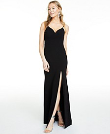 Juniors' Ladder-Trim Low-Back Gown