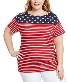 Plus Size Stars & Stripes Top, Created for Macy's