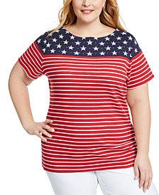 Karen Scott Plus Size Stars & Stripes Top, Created for Macy's