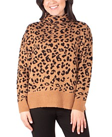 Cat-Print Turtleneck Sweater