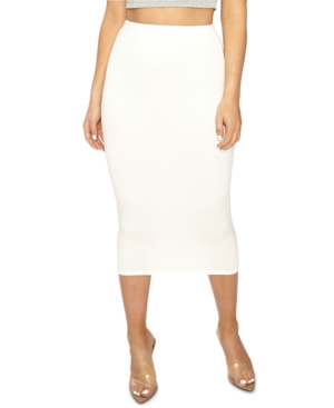 Naked Wardrobe The Nw Get Snatched Midi Skirt In Off White