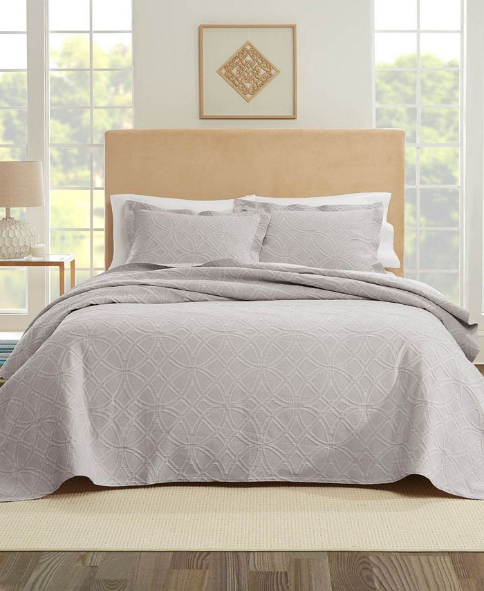 Nouvelle Home - Bogart European Matalasse Coverlet Set King Grey