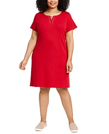 Plus Size Laced-Neck Dress, Created for Macy's