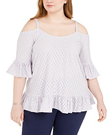 Plus Size Cold-Shoulder Eyelet Top