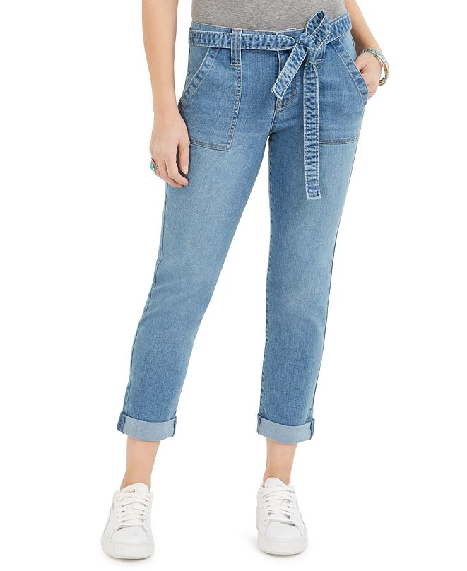 Style & Co Tie-Waist Cuffed Cropped Jeans, Created for Macy's