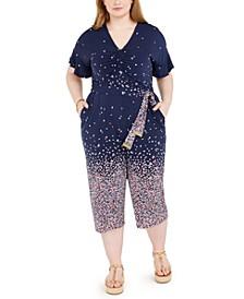 Plus Size Floral-Ombré Jumpsuit