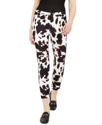 X-Fit Cow-Print Slim-Ankle Pants