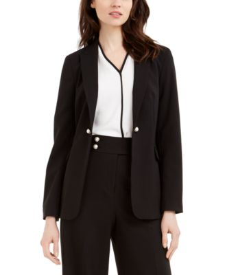 Imitation Pearl Open-Front Jacket
