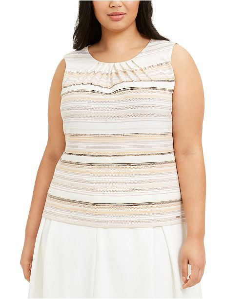Calvin Klein Plus Size Sleeveless Pleat-Neck Blouse
