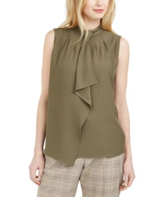 Ruffle-Front Sleeveless Top