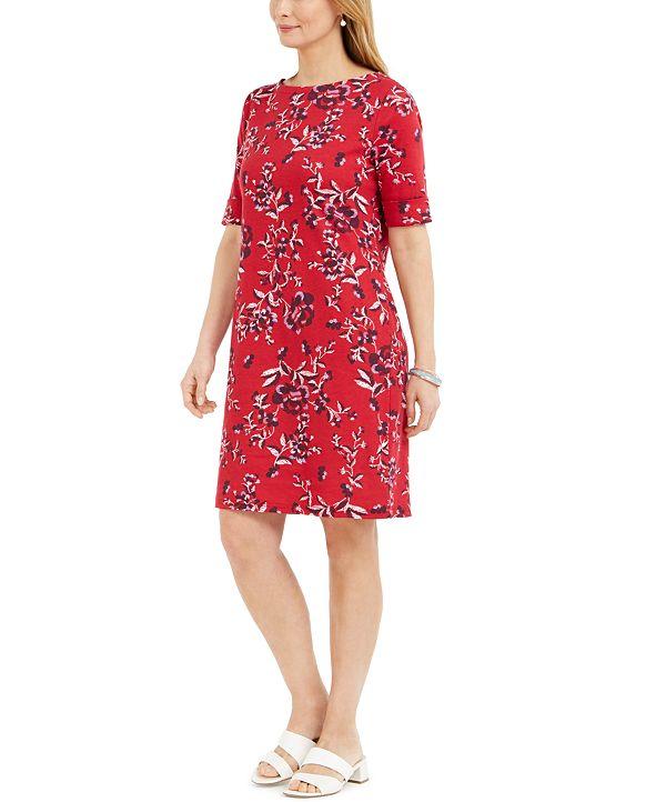 Karen Scott Petite Printed Boat-Neck Dress, Created for Macy's