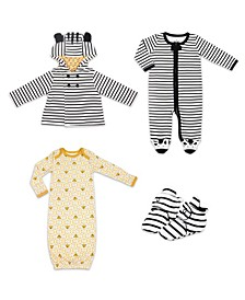 Baby Boys and Girls Tiger Print Sleep Gown and Booties Set