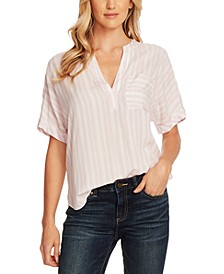 Serene Stripe Split-Neck Top