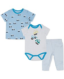 Earth by Baby Boys 3-Pc. Organic Cotton Truck-Print T-shirt, Truck Bodysuit & Leggings Set
