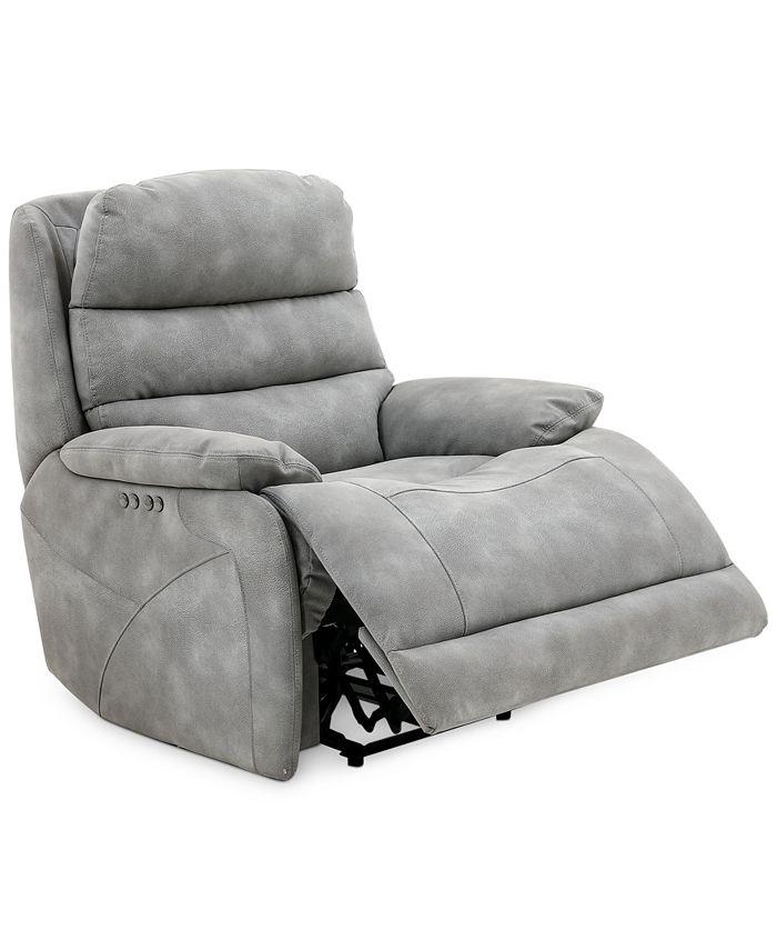 "Furniture - Ferteno 39"" Fabric Dual Power Recliner"
