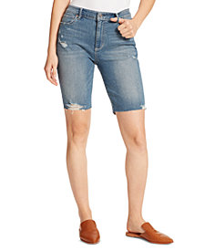 Ella Moss Denim Ripped Bermuda Shorts