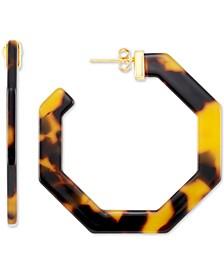Medium Hexagon Tortoise Shell-Look Lucite Hoop Earrings in 18k Gold-Plated Sterling Silver