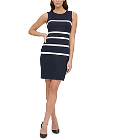Piqué-Knit Striped Sheath Dress