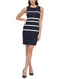 Tommy Hilfiger Petite Piqué Scuba Stripe Sheath Dress