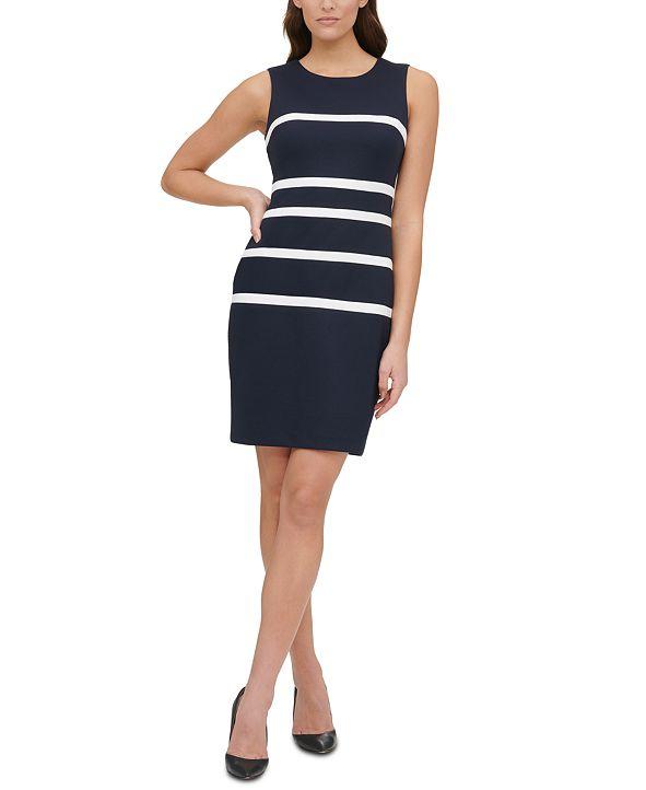 Tommy Hilfiger Piqué-Knit Striped Sheath Dress