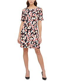 Petite Dhalia Floral-Print Cold-Shoulder Dress