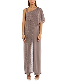 One-Shoulder Metallic Jumpsuit
