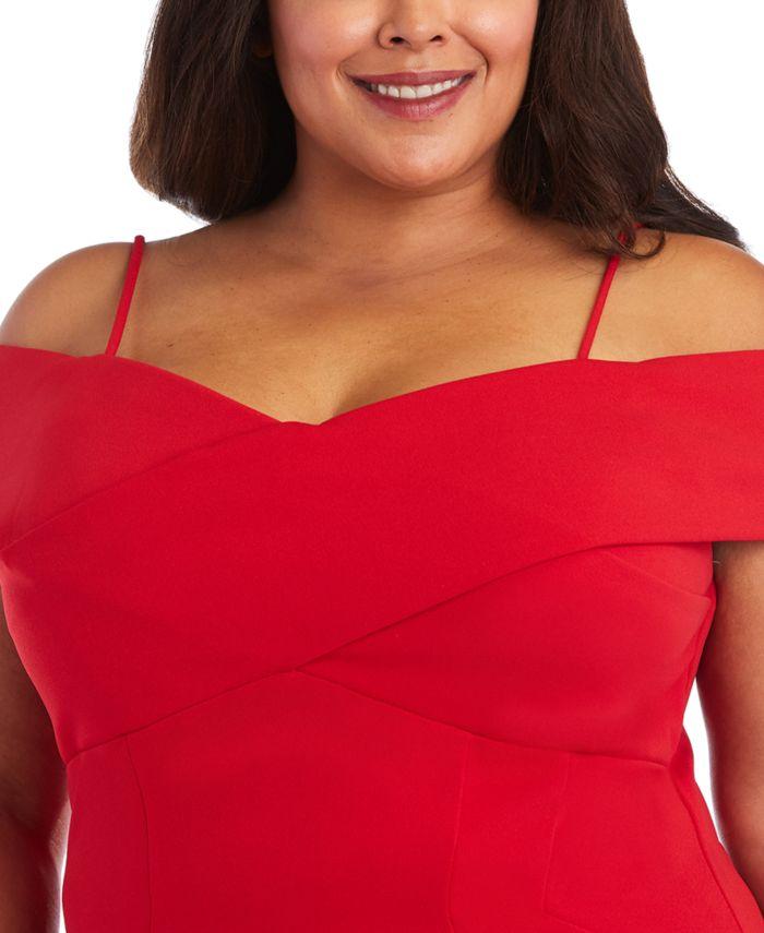 Nightway Plus Size Portrait-Collar Scuba Gown  & Reviews - Dresses - Plus Sizes - Macy's