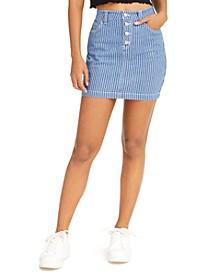 Junior's Striped Jean Mini Skirt
