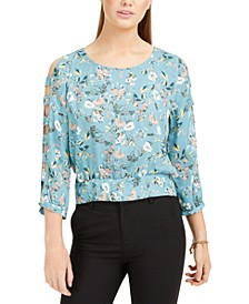 Juniors' Printed Lattice-Sleeve Top