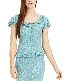 Juniors' Mini Dot Peasant Top