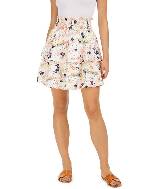 Maison Jules Floral-Print Tiered Skirt, Created for Macy's