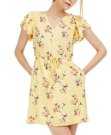 Floral-Print Flutter-Sleeve Dress, Created For Macy's