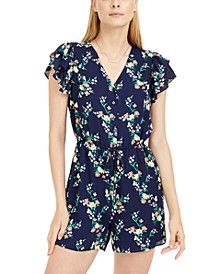 Floral-Print Ruffled-Sleeve Romper, Created For Mayc's