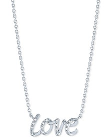 "Diamond Accent Love Pendant Necklace in Sterling Silver, 16"" + 2"" extender"