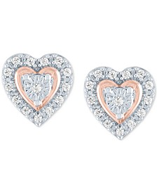 Diamond Heart Stud Earrings (1/10 ct. t.w.) in Sterling Silver & 14k Rose Gold-Plate