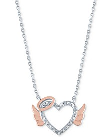 "Diamond Accent Angel Heart Pendant Necklace in Sterling Silver & 14k Rose Gold-Plate, 16"" + 2"" extender"
