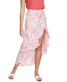 Porcelain Floral-Print Ruffled Skirt