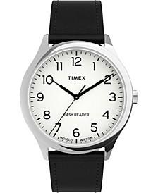Men's Easy Reader Black Leather Strap Watch 40mm