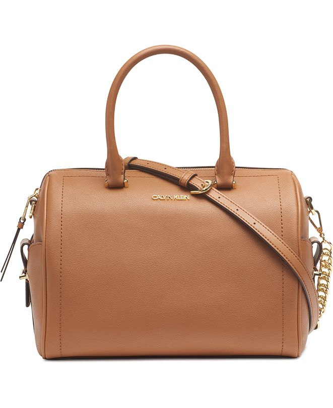 Calvin Klein Leather Chained Barrel Satchel