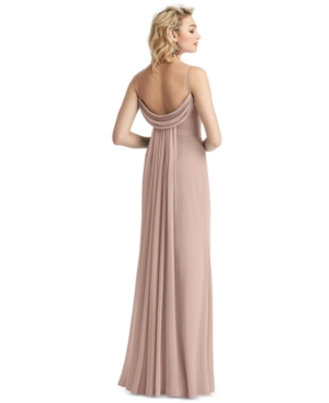 Draped-Back Sleeveless Gown