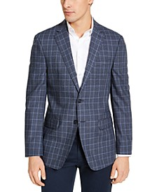 Men's Slim-Fit Blue Plaid Wool Sport Coat