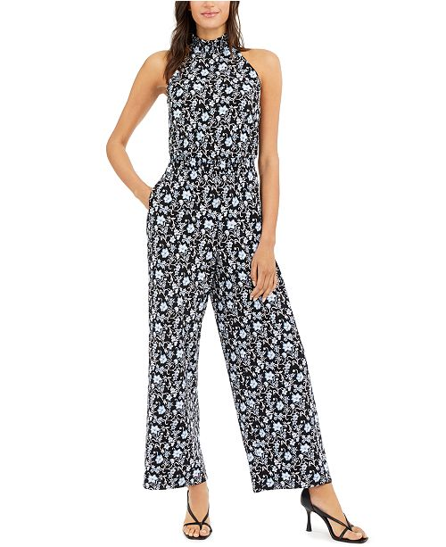 INC International Concepts INC Printed Mock-Neck Jumpsuit, Created for Macy's