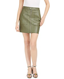 Faux-Leather Zip-Front Mini Skirt, Created for Macy's