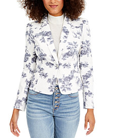 INC Puff-Sleeve Printed Denim Blazer, Created for Macy's