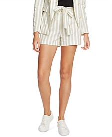 Striped Cotton Tie-Waist Shorts