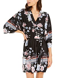 Floral Boarder Print Wrap Robe