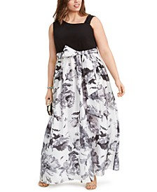 Plus Size Solid & Floral-Print Gown